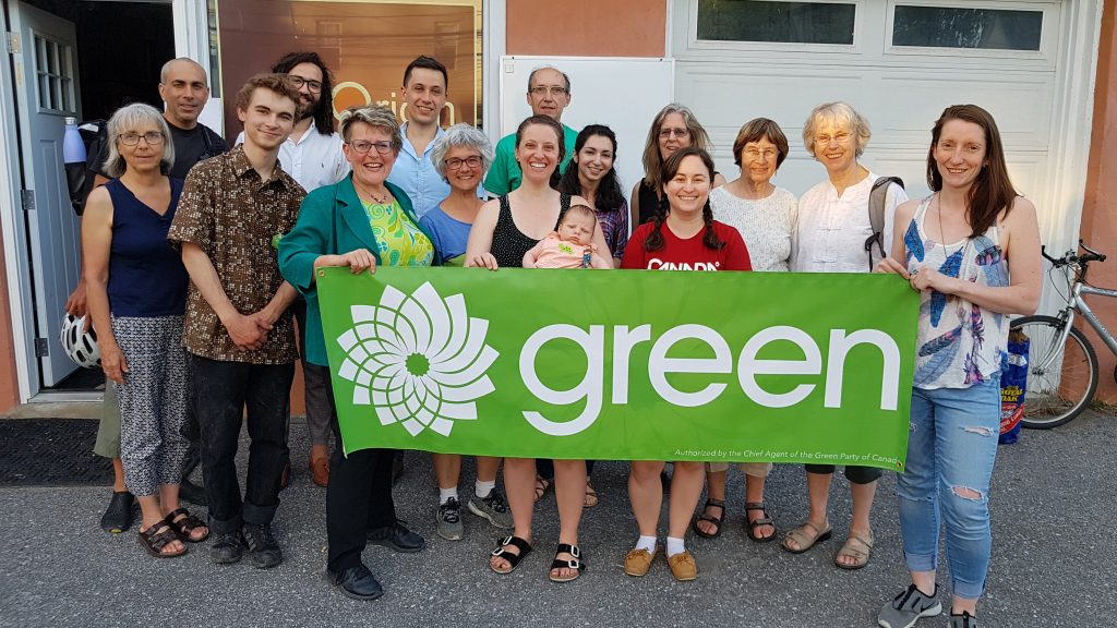 Group of Green Party volunteers, outside, smiling